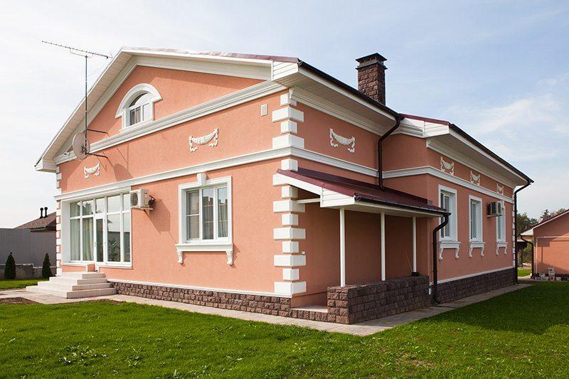 Houses Exterior Design Idea Peach House with a White Stripe