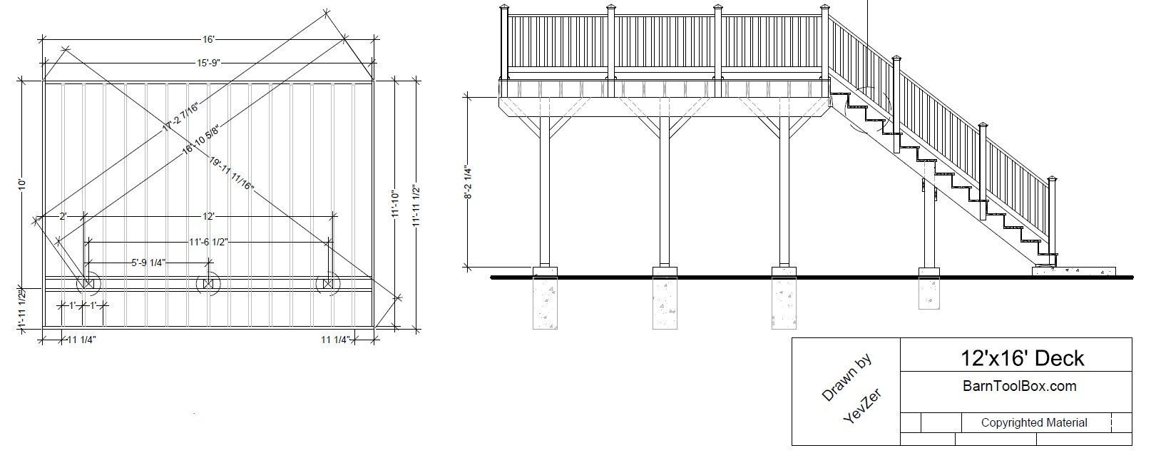 Building Decks - Free 12'x16'  Deck Plan and Maintenance Free Deck Photos