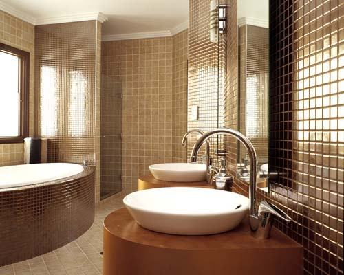 Brown tiles for the bathroom