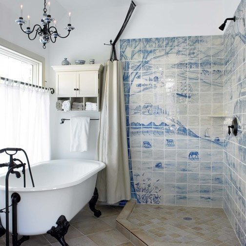 Hand-painted tiles for the bathroom