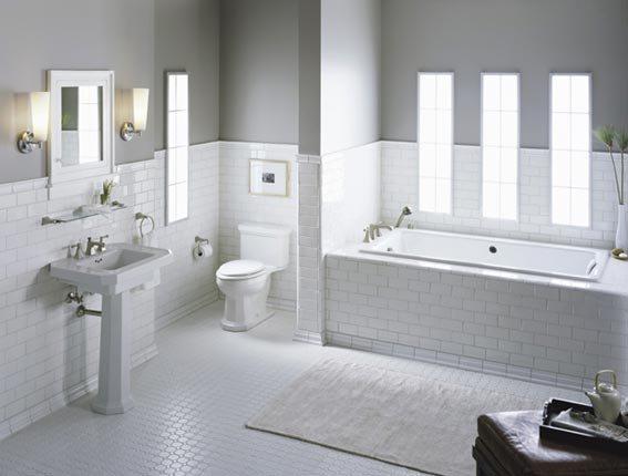 The white tile bathroom