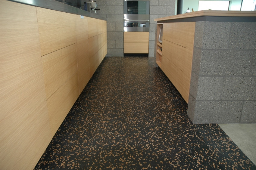 Recycled rubber flooring in a kitchen // eboss.co.nz