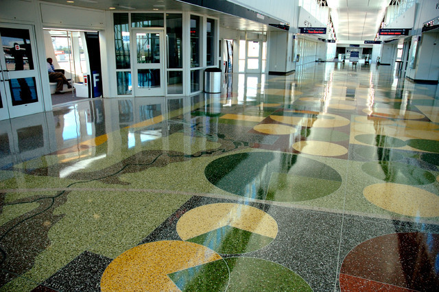 Recycled glass tiles used as a flooring // smarthomesng.com