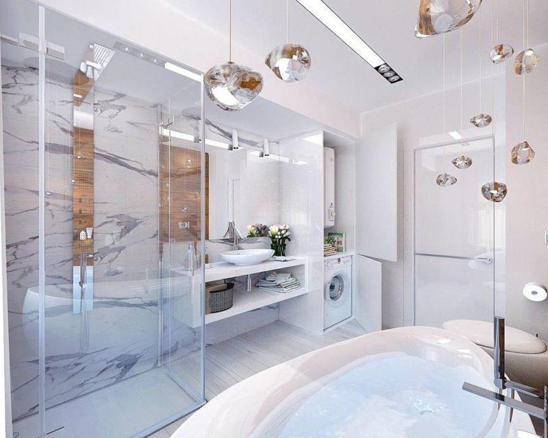 Well-lit modern bathroom featuring multiple illumination sources // pinterest.com