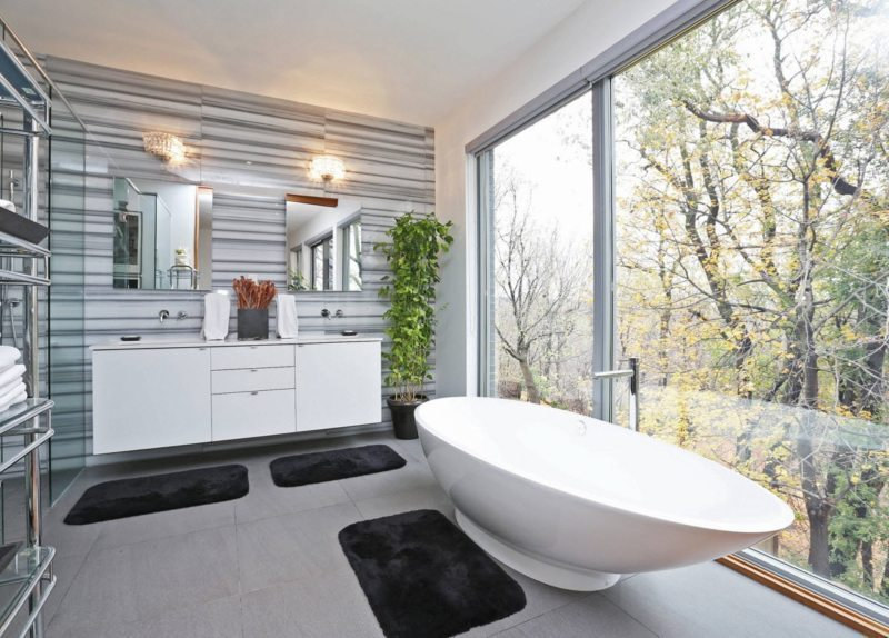Contemporary bathroom with non-standard vanity placement // pinterest.com